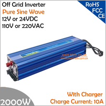 2000W DC12V/24V AC110V/220V Off Grid Pure Sine Wave Single Phase Power Inverter  with charger function, Surge Power 3000W