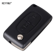 KEYYOU Replacement 2 Button Remote Flip Folding Key Fob Case Shell Blade For Citroen C2 C3 C4 C5 C6 C8 With LOGO
