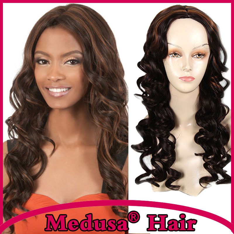 Medusa hair products: Free shipping African american Synthetic pastel wigs for women Modern Long wavy brown Afro Mono wig SW0041<br><br>Aliexpress