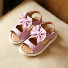 Princess Girls Sandals Children Shoes 2017 New Summer Big Bow Solid Fashion Baby Girls Shoes Kids Soft Hollow Beach Sandals