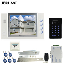 JERUAN 8 inch LCD video doorphone Recording intercom system New RFID waterproof Touch Key password keypad Camera 8G SD Card Free
