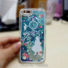 Blue Alice in Wonderland Glitter Sand Capa Cases for Samsung Galaxy S6 S7 Edge iPhone 7 7 Plus 6 6s 6 Plus 5s 5 Fundas Coque