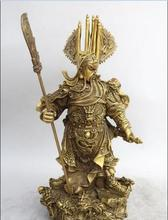 China Dynasty Famous Warrior Brass Nine Dragon Guan gong Guan yu Statue