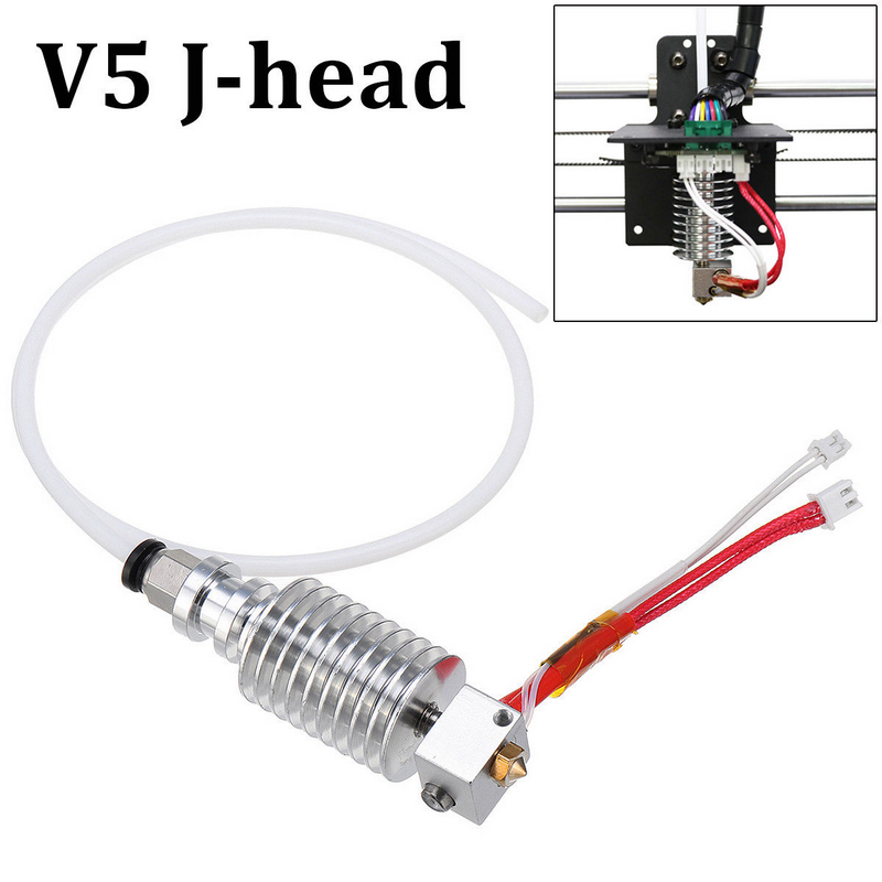 Mayitr 1pc V5 J-head Hotend Kit Silver E3D Printer Hot End 0.4mm / 1.75mm For Anycubic I3 Mega 3D Printer Extruder