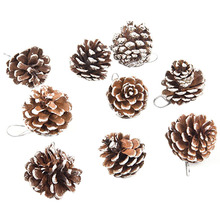 9 PCS/lot Real Natural Small Pine cones for Christmas Craft Decorations White Paint VBA12 P18 0.5