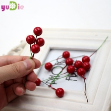 5pcs mini fake artificial berry fruit cherry red pearl head clip stamen DIY wedding Christmas decorations simulation cherry