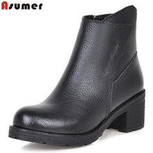 Asumer simple side zipper convenient ankle boots square medium heel high quality black solid fashion women boots