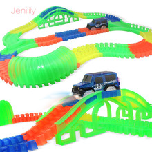 1 Set DIY Assembly Puzzle Track Car Toy Roller Coaster Track Electronic Rail Car with Light&music Educational Toys for kids(China)
