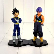 15cm Anime Dragon Ball Z Vegeta Trunks Figure Toy Father and Son DBZ Model Doll With Base