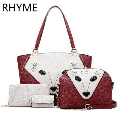 RHYME New Arrived Fox Composite Bag 4 Set Leather Handbag Women Messenger Bag Purse Wallet<br>