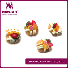 2015 Brand New 3D Fimo Nail Art Decoration Temptation Fingertips Delicious Fruit Cake/Bread Crystal Nails Accessories Rhinestone