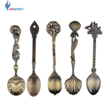 5 Pcs/Set Kitchen Dining Bar Vintage Royal Style Bronze Carved Small Coffee Spoon Flatware Cutlery Mini Dessert Spoon For Snacks