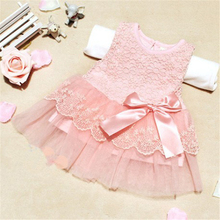2017 Sweet Baby Girls Dresses Children Clothing Cotton Kids Bow Lace Ball Gown Casual Princess Dress Clothes