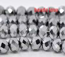 Wholesale Faceted silver Glass Crystal Rondelle Spacer Beads 4 6 8 10 12 14mm Pick Siz For Jewelry Making(F00182)(China)
