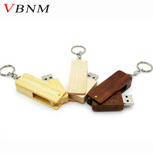 VBNM Natural Wood bamboo USB Flash Drive wooden pendrive 8GB 16GB 32GB Small Rotate Pen Drive USB 2.0 memory Stick U disk(China)