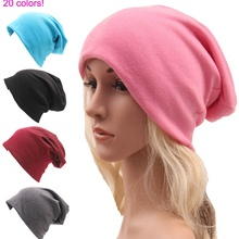Fashion Cotton Women and Men Sport Hats Autumn and Winter Soft Hipster Skull Cap 20 Colors Young Hip-hop Style slouchy
