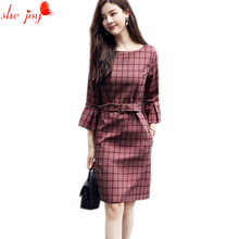 2017 Vintage Fall Gowns for Women Check Vestidos Women Dress with Sashes Trendy Plaid Dresses Flare Sleeve Female Robe Clothings(China)