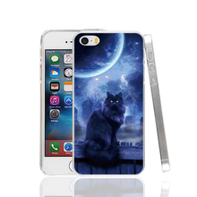 19283 Moon Cat' black cats bring good luck Cover cell phone Case for iPhone 4 4S 5 5S SE 5C 6 6S Plus 6splus