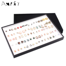 176 Holes Ring Display Tray Ear Stud Holder Plate Jewelry Displays Ring Necklace Stand Rack Box Earring Case Plate A185
