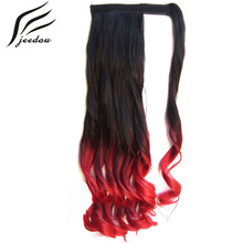 "jeedou Wavy Synthetic Hair Ponytails 22"" 55cm 90g Blue Pink Mix Color Curl Wrap Around Ponytail Hair Extensions"