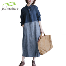 Johnature Women Cotton Linen Dress Patchwork Long Sleeve 2017 Spring New Women Striped Shirt Casual Vintage Blue Dress(China)