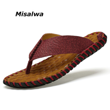 Misalwa Cow Leather Men Summer Flip-flops Memory Function Massage Latex Men Summer Slippers Outdoor Indoor Beach Shoes 6-10.5(China)