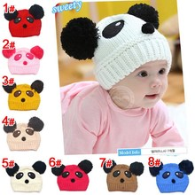 New Arrival 1 Piece Retail Lovely Panda Animal Pattern 2 Colors Patchwork Baby Hats Winter Warm Crochet Kids Caps