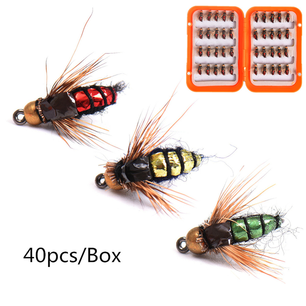 40pcs Fly Fishing Hook Fly Tying Fishing Insect Lure Kit Dry Flies Hooks Feather Wing Artificial Bait Fishing Food<br>