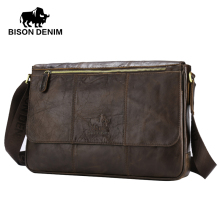 "BISON DENIM Genuine Leather 13"" Laptop Crossbody Bag Male Shoulder Bag Ipad Bag Travel Vintage Brown Messenger Bag W2458-3Z"