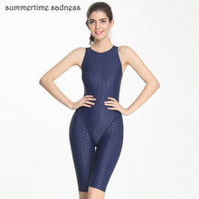 Professional Fitness Training One Piece Swimsuit Knee Length Swimwear Women Summer Padding Bodysuit Slim Swim maillot Monokini(China)