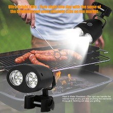 Adjustable 10 LED BBQ Grill Barbecue Light Outdoor Handle Mount Clip Camp Lights Waterproof Heat Resistance Lamp Free Shipping(China)