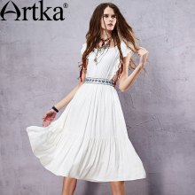 Artka Women's Summer New Boho Style Embroidery White Cotton Dress O-Neck Sleeveless Empire Waist Dress With Ruffles LA14251X