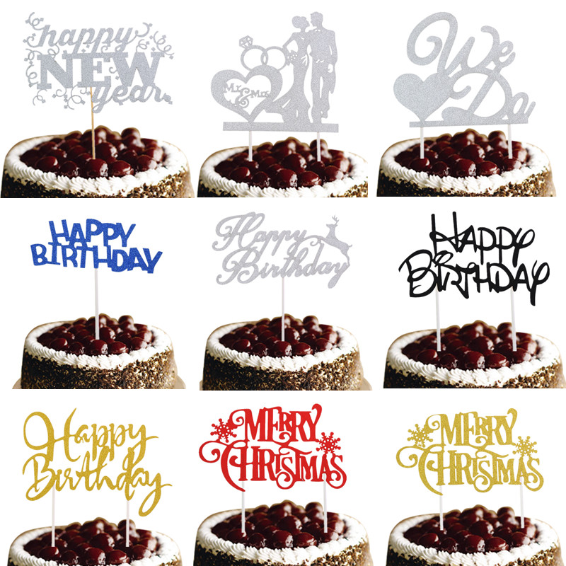 New Arrival Cake Toppers We Do Happy Birthday Merry Christmas Bridal Cake Flag Birthday Wedding New Year