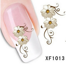 1 sheet Fashion Water Transfer Flower Design Nail Decals Tattoo Sticker Manicure Foil Wrap DIY Stylish Decoration Tool SAXF1013