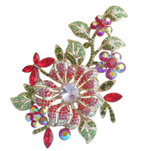 Classic Style Beautiful Red Rhinestone Crystal Orchid Flower Brooch Pin EE04712C6