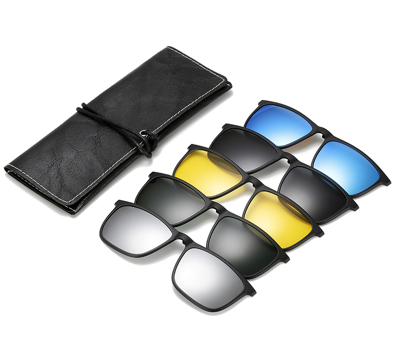 Ralferty 5 In 1 Ultra-Light TR90 Magnetic Polarized Clip On Sunglasses Men Women Square Sunglases Night Vision Glasses A8804 1