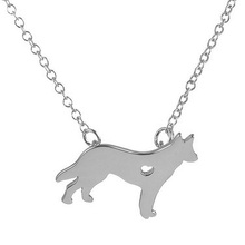 1Pc New German Shepherd With A Heart Pendant Animal Pet Necklace Mix Color Link Chain Celebration Gift Tag Men Women Jewelry