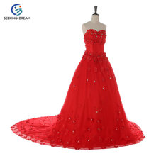 2017 White/Red/Champagne Luxury Wedding Dress Ball Gown Train Dress Trailing Flower Strapless Lace-up Pregnant Bride KD211(China)