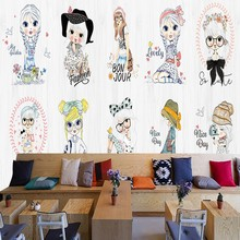Custom photo wallpaper Cartoon girl hand painted fashion show mural kids room clothing store mall custom wallpaper