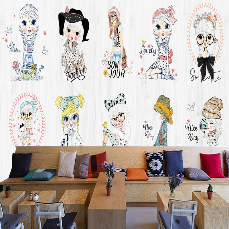 Free shipping Cartoon girl hand painted fashion show mural kids room clothing store background wall mural mall custom wallpaper(China)