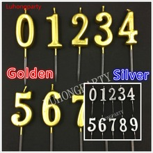 Birthday Number Candle Gold Silver Candle Cake Cupcake Topper Party Birthday Cake Candle Party Decoration Supply