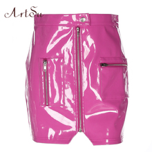 Buy ArtSu 2018 Fashion High Street Skirts Spring Women Bright PU Leather Sweet Saia Zipper Slim Sexy Pencil Mini Skirt ASSK30036 for $15.39 in AliExpress store