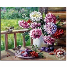 Diamond Mosaic Diamond Embroidery Beads Dahlias In A Vase Flowers Diamonds Cross Stitch Painting Inlay Handwork Picture Pattern(China)