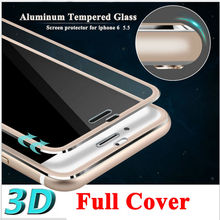 Full Cover 3D Tempered Glass For Iphone 6 Plus iphone6 6S Plus 7 Curved Round Edge Rose Gold Silver Black Color(China)