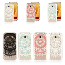 Cases For Samsung Galaxy A5 A3 A7 2017 Cover Soft Silicone Clear Mandala Flower TPU Skin Gel Cell Phone Coque Etui Capinha Funda(China)