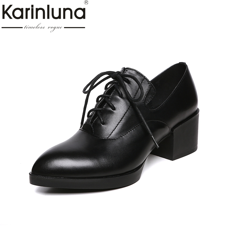 KARINLUNA Spring Autumn Genuine Leather Pumps Lace Up pointed Toe Square Heel Comfortable Black Shoes Women Shoes<br>