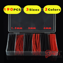 (190 PCS) 3 Sizes 1.5MM 3MM 6MM Black & Red Assortment Ratio 2:1 Polyolefin Heat Shrink Tube Tubing Sleeving Wrap Wire Cable Kit