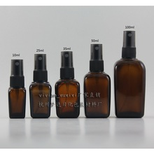 20PCS 100ml brown/amber square Glass travel refillable perfume bottle with black plastic atomiser, 100ML perfume container