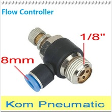"10pcs Free Shipping SL 8MM-1/8"" Pneumatic Throttle Valve Quick Push In Air Fitting 8MM Tube 1/8"" Thread SL8-01 Flow Controller(China)"