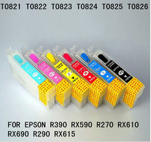 6 color 82 T0821 -T0826 Refillable ink cartridge for EPSON R390 RX590 R270 RX610 RX690 R290 RX615 printer Auto reset chip